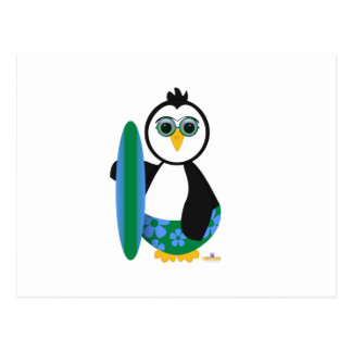 Penguin Holding Surf Board With Sun Glasses Postcards