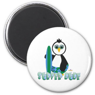 Penguin Holding Surf Board With Sun Glasses Surfer 2 Inch Round Magnet