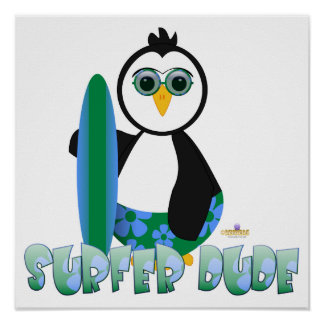Penguin Holding Surf Board With Sun Glasses Surfer Poster