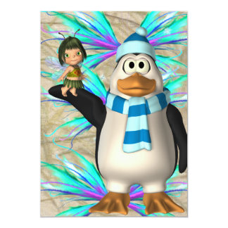 """Penguin holding up a fairy child graphic 5"""" x 7"""" invitation card"""
