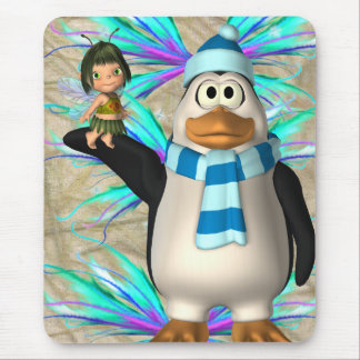 Penguin holding up a fairy child graphic mouse pad