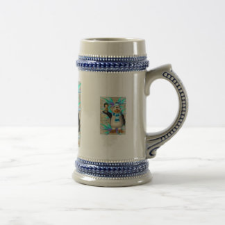 Penguin holding up a fairy child graphic 18 oz beer stein
