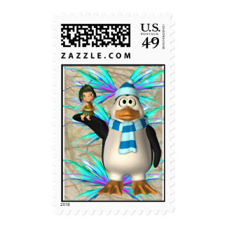 Penguin holding up a fairy child graphic postage