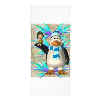 Penguin holding up a fairy child graphic rack cards