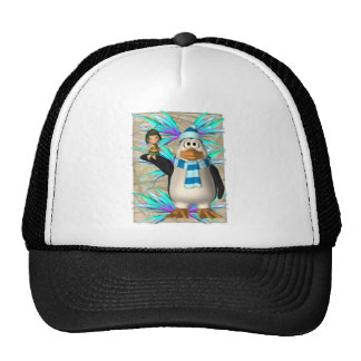 Penguin holding up a fairy graphic trucker hat