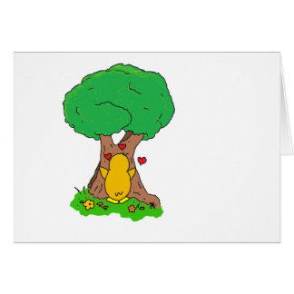 Penguin Hugging a Tree Greeting Card