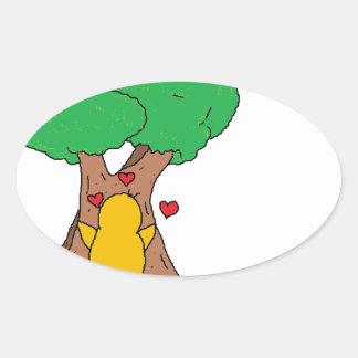 Penguin Hugging a Tree Oval Sticker