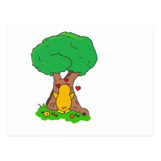 Penguin Hugging a Tree Postcard