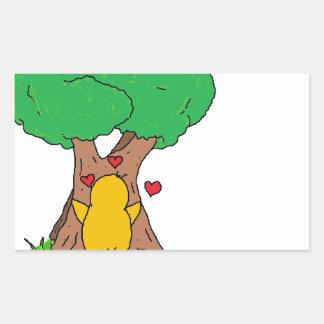Penguin Hugging a Tree Rectangular Sticker