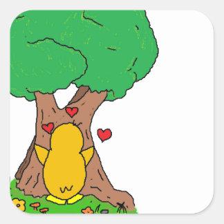 Penguin Hugging a Tree Square Sticker