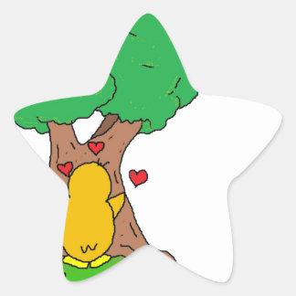 Penguin Hugging a Tree Star Sticker