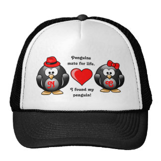 Penguin I Found My Mate for Life Pair Red Heart Trucker Hat