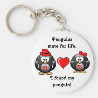 Penguin I Found My Mate for Life Pair Red Heart Basic Round Button Keychain