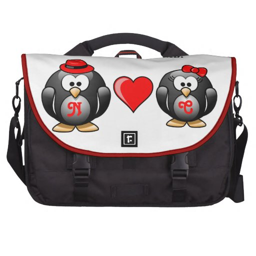 Penguin I Found My Mate for Life Pair Red Heart Laptop Bags