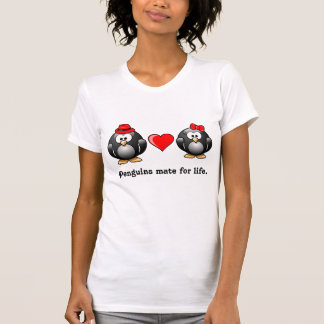 Penguin I Found My Mate for Life Pair Red Heart T-Shirt