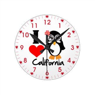 Penguin I Love California Wallclock