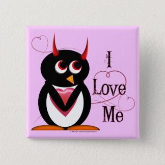 Penguin I LOVE ME Bling Pinback Button