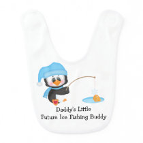 Penguin Ice Fishing Baby Bib