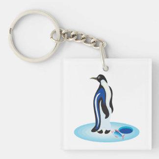 Penguin Ice Fishing Single-Sided Square Acrylic Keychain