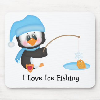 Penguin Ice Fishing Mouse Pad