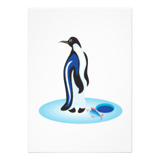 Penguin Ice Fishing Personalized Announcements