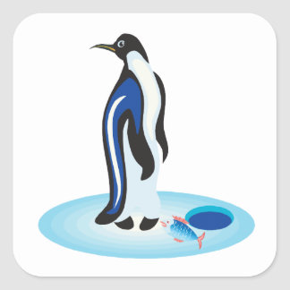 Penguin Ice Fishing Square Sticker