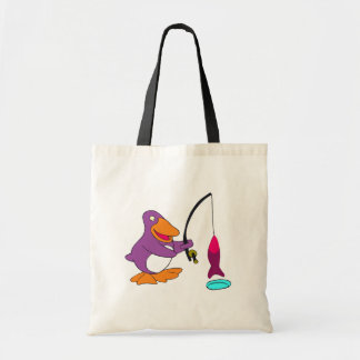 Penguin Ice Fishing T-shirts and Gifts Canvas Bag