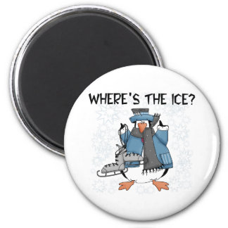 Penguin Ice Skating 2 Inch Round Magnet