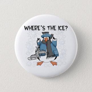 Penguin Ice Skating Pinback Button