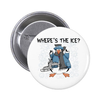 Penguin Ice Skating Pinback Button