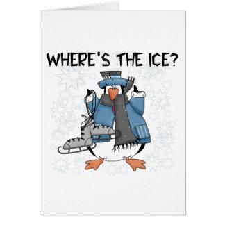 Penguin Ice Skating Tshirts and Gifts Greeting Card