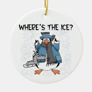 Penguin Ice Skating Tshirts and Gifts Ceramic Ornament