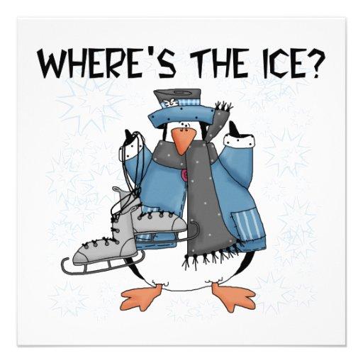 Penguin Ice Skating Tshirts and Gifts Custom Invitations