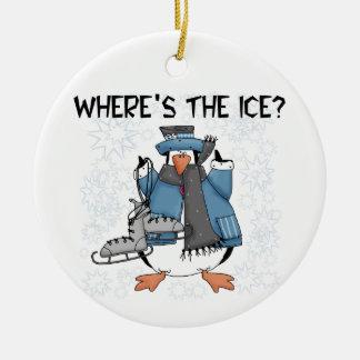 Penguin Ice Skating Tshirts and Gifts Christmas Ornaments