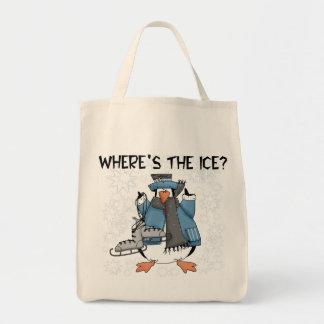 Penguin Ice Skating Tshirts and Gifts Tote Bag