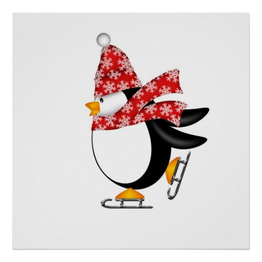Penguin Ice Skating with Hat and Scarf Bag Poster