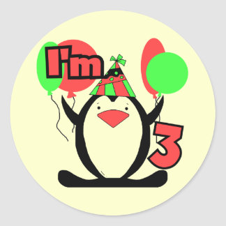 Penguin I'm 3 Birthday Tshirts and Gifts Classic Round Sticker