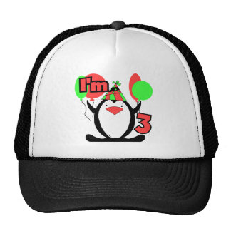 Penguin I'm 3 Birthday Tshirts and Gifts Trucker Hat