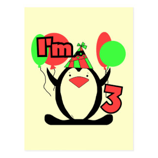 Penguin I'm 3 Birthday Tshirts and Gifts Postcard