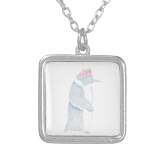 Penguin In A Beret Silver Plated Necklace