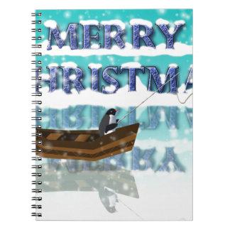 penguin in a boat.jpg spiral notebook