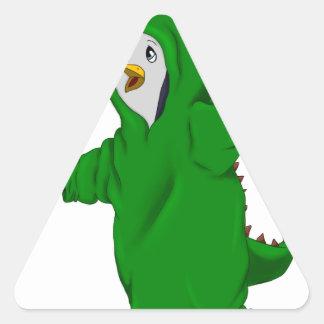 penguin in a dinosaur suit triangle sticker