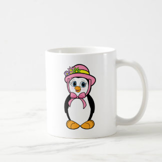 Penguin in a Pink Easter Bonnet Classic White Coffee Mug