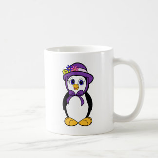 Penguin in a Purple Easter Bonnet Classic White Coffee Mug