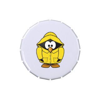 Penguin in a Raincoat Cute Cartoon Candy Tins