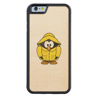 Penguin in a Raincoat Cute Cartoon Carved Maple iPhone 6 Bumper Case