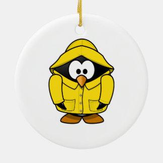 Penguin in a Raincoat Cute Cartoon Ceramic Ornament