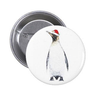 Penguin in a Santa Hat Christmas Badge 2 Inch Round Button