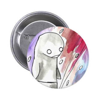 penguin in a snow storm pinback button
