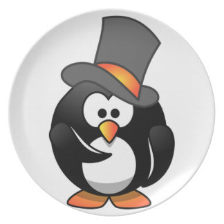 Penguin in a Top Hat Kids Dinner Plate